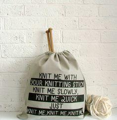Grey knitting project bag - Knitting bag with beach bag vibe