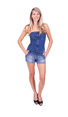 e93c5477d5 Cello Jeans Women Tube Folded Romper with Chest and Side Pockets M Medium  Denim        AMAZON BEST BUY