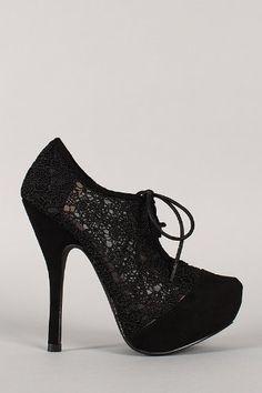 0a25da10a393 Qupid Onyx-167 Black Beige M Lace Up Oxford Stiletto Bootie  39.90 Mid Calf  Boots