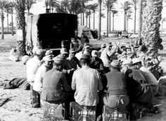 Afrika Korps soldiers in a palmera of palm trees