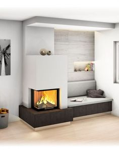 Home Fireplace, Fireplace Design, Home Living Room, Living Room Decor, Wood Burning Heaters, Japanese Home Decor, Interior Design Boards, Home Room Design, House Rooms