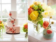 peachy cake inspired by posies on the right.