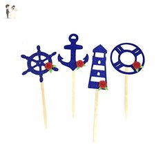 12 pcs floral roses nautical cupcake topper sailor ship wheel anchor light house life ring glitter dessert birthday party wedding spring - Cake and cupcake toppers (*Amazon Partner-Link)