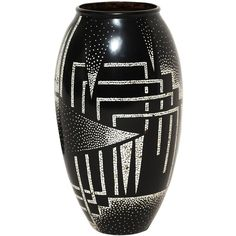 Art Deco Ovoid Lacquered Vase by Jean Dunand ($350,000) ❤ liked on Polyvore featuring home, home decor, vases, art deco, decor, house, deco, art deco home decor, lacquer vase and art deco vase