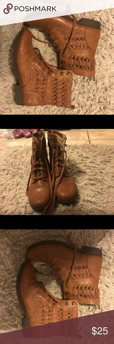 Brown cow girl boots Brown weaved boots only worn twice! Will fit wide calf sizes!! Shoes Lace Up Boots