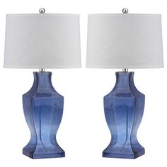 """Found it at Wayfair - Safavieh Bottom 28.5"""" H Table Lamp with Drum Shade - Finish: Blue (Set of 2)"""