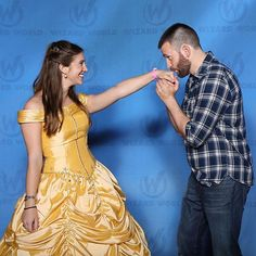 """Chris meeting his favorite Disney princess, Belle.  Someone cast this man as a Prince in a Disney Movie.  He said he'd like to play Prince Eric from """"The Little Mermaid."""""""