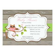Woodland Owl Pink and Green Baby Shower Invitation