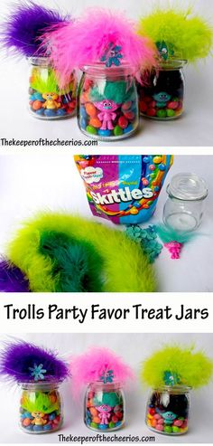 Trolls Party Favor Treat Jars I love this idea for a Troll themed kids party 6th Birthday Parties, Third Birthday, Birthday Fun, Birthday Ideas, Trolls Birthday Party Ideas Cake, Kids Party Treats, Birthday Cake, Fete Audrey, Trolls Party