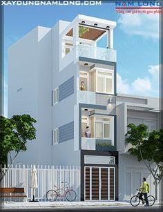 Thiết kế nhà ống mặt tiền 3m NL92 (Anh Hùng Gò Vấp) House Front Design, Small House Design, Building Exterior, Building Design, Townhouse Designs, Compact House, Narrow House, House Elevation, New Home Designs