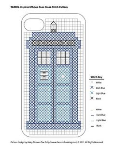 TARDIS iPhone Cover in cross stitch!