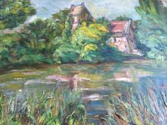 French painting Alfred Cluzeau 1940s .The mill on by Albanegalery