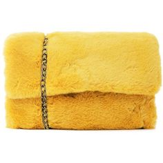 Nasty Gal WANT Big Softie Faux Fur Bag (58 PEN) ❤ liked on Polyvore featuring bags, handbags, foldover bags, fold-over crossbody bags, fold over purse, faux fur bag and yellow handbags