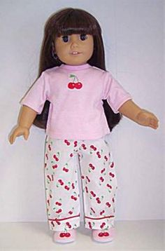 Cherry Print Pajamas & Slippers made for 18 inch American Girl Doll Clothes #DollClothes