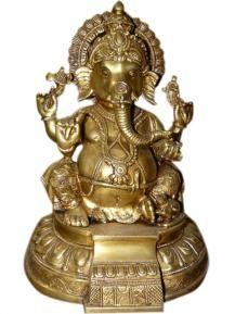 Sitting Ganesha Statue, Good Luck Statue, Brass Ganesha Idol