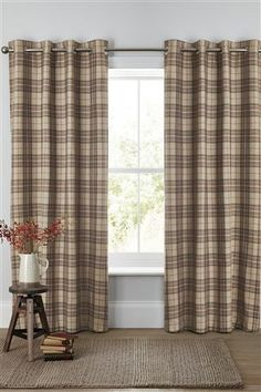 Archie Woven Check Eyelet Curtains