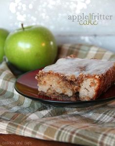 Apple Fritter Cake - our delicious breakfast this morning! Made with applesauce, Greek yogurt, and we chose to use half whole wheat flour too.
