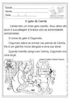 Alfabetizar com AMOR: O GATO DE CAMILA - TEXTO E INTERPRETAÇÃO EM DOIS TIPOS DE LETRAS/ 1º ANO - 2º ANO