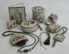 The complete sewing accessories set for Carolyn Pearce's Home Sweet Home etui set ~ embroidered by Janet Granger