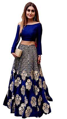 Akk Enterprise Blue Bangalore Silk Off Shoulder Lehenga #Lehenga #Blue #BangaloreSilk