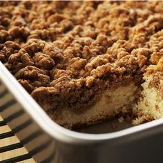 Cinnamon Crumb Cake: 2 cups flour  1/2 cup firmly packed brown sugar  1/2 cup granulated sugar  2 tablespoons McCormick® Cinnamon, Ground Advertisement  1 cup (2 sticks) cold butter, cut into chunks  1 package (18 1/4 ounces) white cake mix  1 egg  1 cup sour cream  1/4 cup (1/2 stick) butter, melted  1 teaspoon McCormick® Pure Vanilla Extract