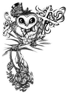 Cute steampunk owl tattoo sketch