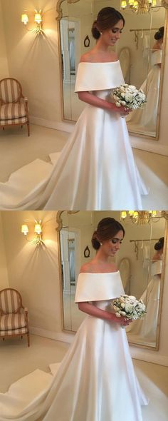 A-line Off The Shoulder Satin Wedding Dresses For Bride