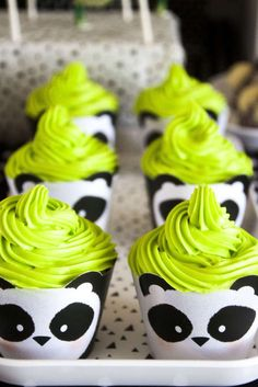 These cupcakes with panda cases are so cute!! Check out the Panda Birthday Party! See more party ideas and share yours at CatchMyParty.com