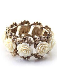 White Flowers Bangle Bracelet