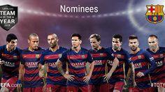 """""""Eight FCBarcelona players nominated for UEFA Team of the Year 2015  Vuit jugadors del Barça, nominats a l'Equip de l'Any 2015  Ocho jugadores del Barça,…"""""""