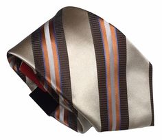 Countess Mara Silk Necktie Brown Beige Orange Stripes Executive Coll. New w/Tags #CountessMara #Tie