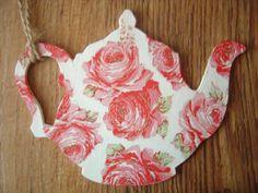 Wooden Teapot Design Decoupaged Gift Hanging by LittleGemsJewells