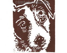 Wiry Jack Russell Dog - Linocut Original hand-pulled Relief Print