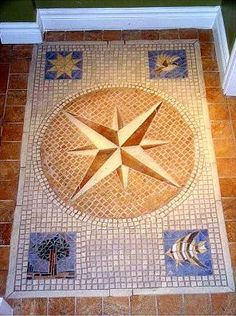 Compass Rose with the four elements of natute