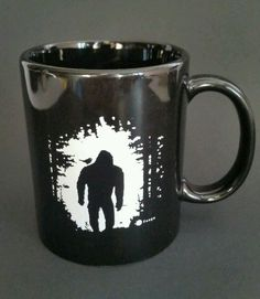 Unique Black and White Ceramic Cat Coffee Tea Cup Mug with Small Cat Inside Bigfoot Sasquatch, Loch Ness Monster, Cool Tee Shirts, Cryptozoology, Fun Prints, Party Gifts, White Ceramics, Just In Case, Cocoa