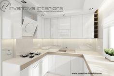 Projekt mieszkania Inventive Interiors - jasna kuchnia - biel beż i jasne drewno