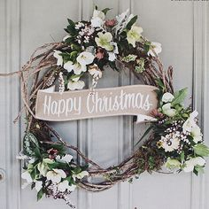 Christmas holidays Merry Happy Christmas twig wreath with white flowers Merry Christmas, Christmas Love, All Things Christmas, Winter Christmas, Christmas Wreaths, Christmas Crafts, Christmas Colors, Winter Snow, Christmas Ornament