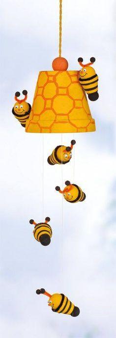 Adorable bumble bee terra cotta mobile!