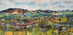 New Zealand artist, Narelle Huggins, aims to not only capture the realism of her rural village subjects, but also explores the sentimental values for those who live there. Creative Inspiration, New Zealand, Palette, Artist, Painting, Pallet, Painting Art, Paintings, Painted Canvas