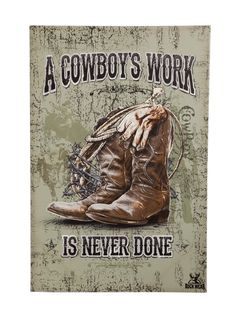 A Cowboy's Work Outdoor Wall Canvas Print