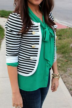 striped blazer with blouse love love