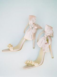 Satin blush heeled wedding sandals with jeweled strap and bow | Bella Belle Shoes {Rachael McCall Photography}