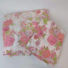 VTG Pepperell Full Fitted Pillowcase 2 Pc Set Muslin Pink Floral Retro Bed Sheet #FairfaxWestPointPepperell