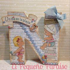 Letra alterada con papeles Dayka by Nubes de Scrap y Algodón