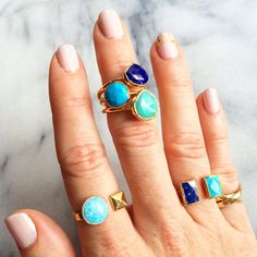 Janna Conner turquoise, chrysoprase and lapis stacking semi-precious rings. Available on www.jannaconner.com