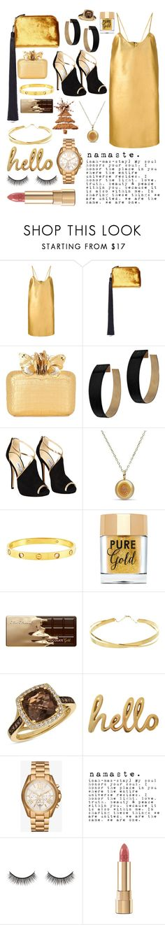 """gold."" by pikamikey ❤ liked on Polyvore featuring Manokhi, The Row, Nancy Gonzalez, Zimmermann, Jimmy Choo, Cartier, Too Faced Cosmetics, Lana Jewelry, LE VIAN and Bombay Duck"