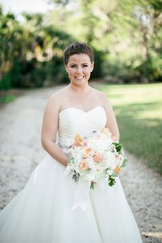 White Hydrangea and Peach Rose Bouquet | photography by http://www.brookeimages.com