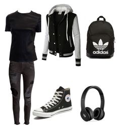 All black by mackenzie-jamison on Polyvore featuring polyvore, fashion, style, Converse, adidas Originals, Beats by Dr. Dre, LE3NO and clothing