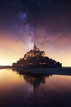 Mont Saint Michel under the stars by Beboy Photographies / Beautiful Castles, Beautiful World, Elle Travel, Le Mont St Michel, Beautiful Places To Travel, Travel Aesthetic, Beautiful Architecture, Travel Abroad, Adventure Is Out There