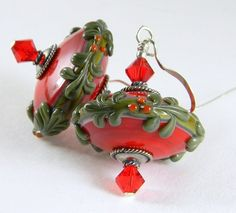 Saint Nick artisan lampwork glass earrings, sterling, glass beads